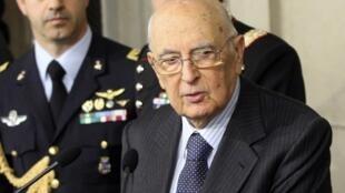 Le président italien Giorgio Napolitano, lors d'une conférence presse, le 30 mars à Rome.