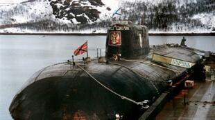 Le sous-marin «Koursk» dans la base de Vidyayevo en Russie.