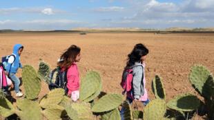Des enfants marchent des kilomètres pour se rendre à l'école chaque matin dans la région de Kasserine, en Tunisie.