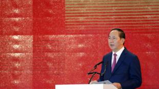 Chủ tịch Việt Nam Trần Đại Quang phát biểu trong diễn đàn doanh nghiệp APEC 2017 tại Đà Nẵng ngày 08/11/2017.