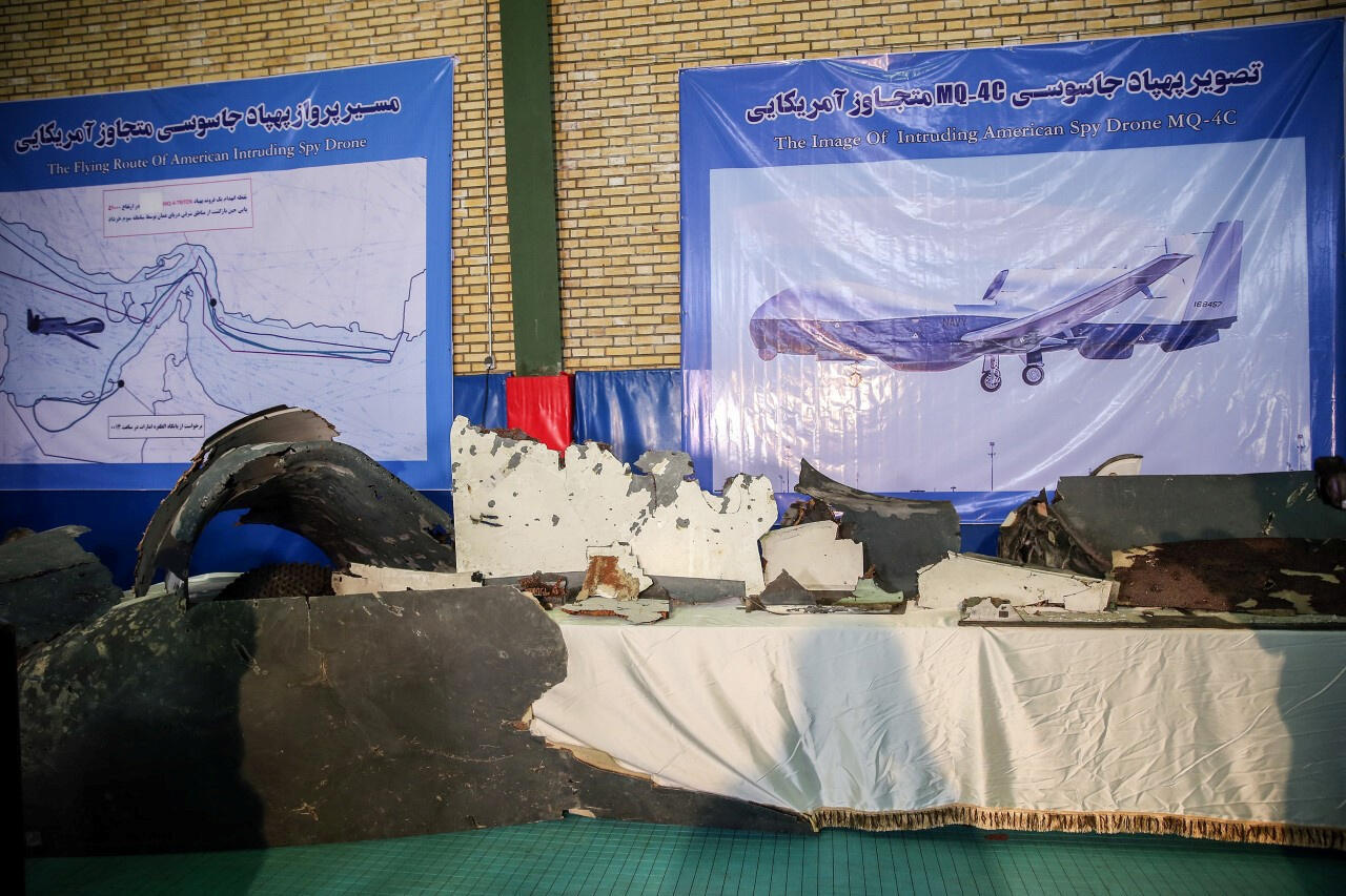 The purported wreckage of the American drone is seen displayed by the Islamic Revolution Guards Corps in Tehran, Iran, 21 June 2019.