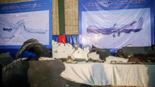Những mãnh của chiếc drone Mỹ bị tên lửa Iran bắn rơi được trưng bày tại Teheran ngày 21/06/2019.