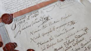 Une des pièces phares de l'exposition, le Traité de paix avec l'Empire, dit « Traité de Westphalie » signé à  Munster, le 24 octobre 1648.