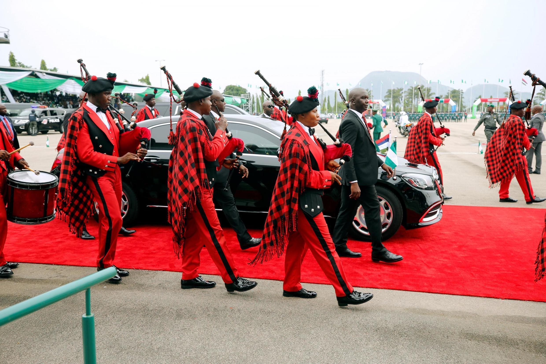 Le président Buhari à son arrivée à l'Eagle Square pour la cérémonie d'investiture pour son second mandat, à Abuja, le 29 mai 2019.