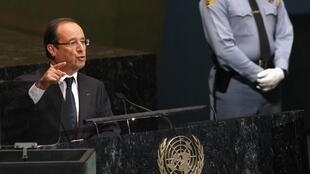 Le président français François Hollande à la tribune des Nations unies, le 25 septembre 2012.