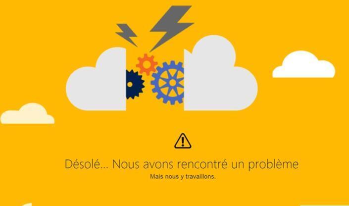 Versão francesa da mensagem de desculpas da Microsoft, que constata o problema e afirma estar tentando resolver a pane em seus sistema de emails.