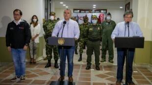 Le président colombien Ivan Duque annonce la mort du chef de l'ELN, Andres Felipe Vanegas, mieux connu sous le nom de guerre Uriel, à Quibdo, le 25 octobre 2020.