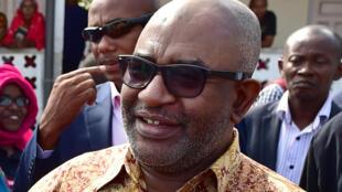 Le président des Comores, Azali Assoumani, lors de la journée de vote pour le référendum constitutionnel à Moroni, le 30 juillet 2018.