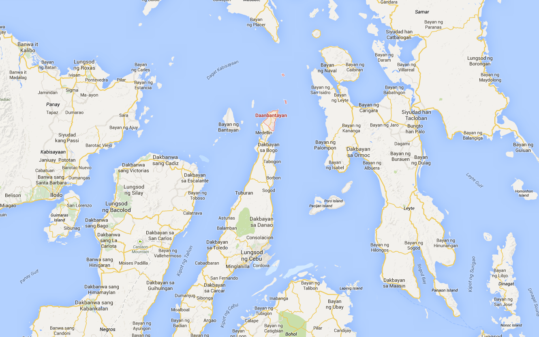 Carte de Daanbantayan et ses environs.
