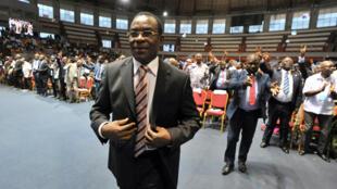 Le président par intérim du FPI, Pascal Affi N'Guessan, lors de la convention de son parti, le 22 février 2014.