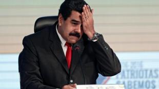 Le président vénézuélien Nicolas Maduro, le 5 août dernier au siège de la banque centrale du pays.
