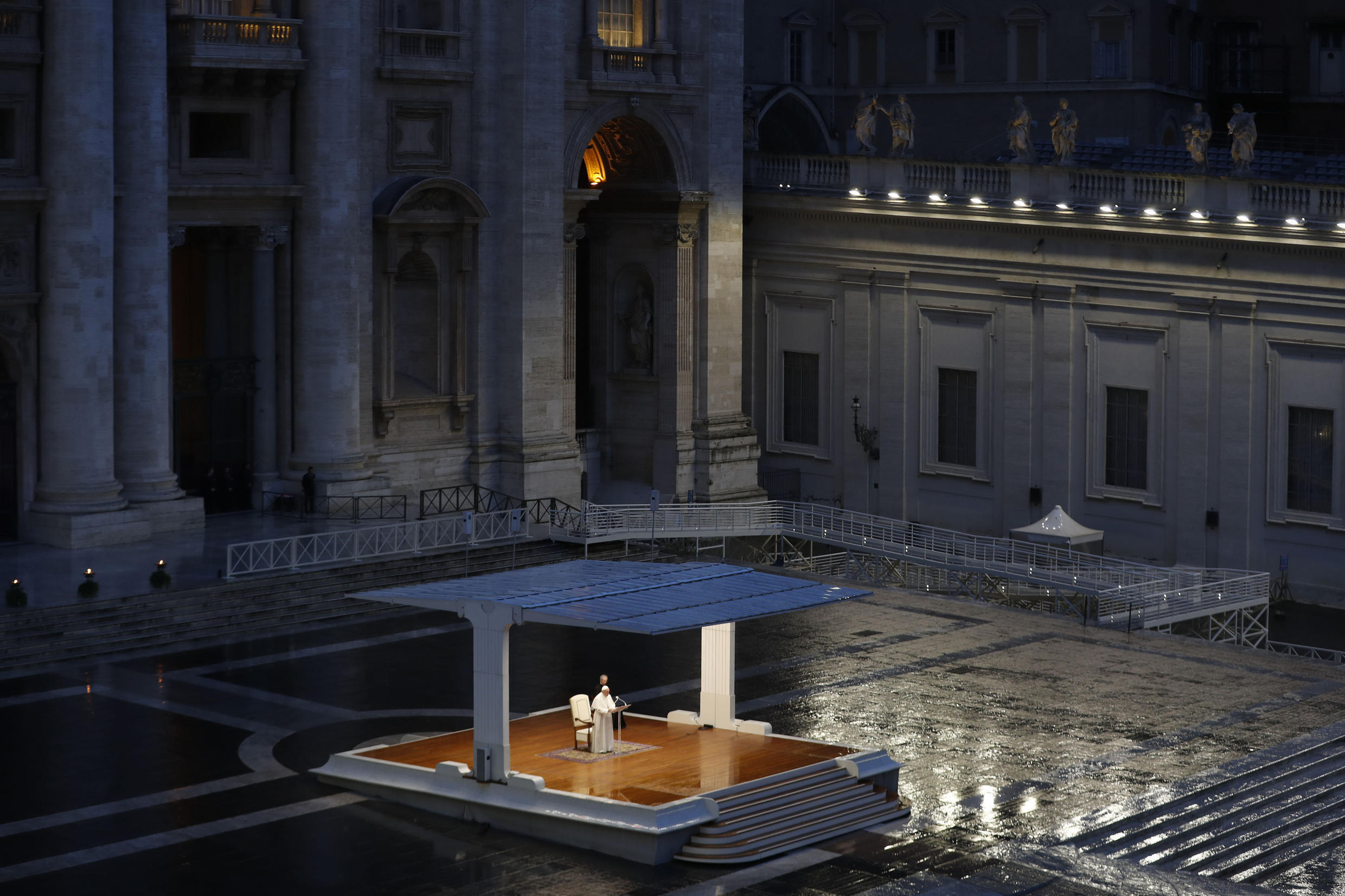 In a historic first, the pope said prayers to an empty Saint Peter's Square