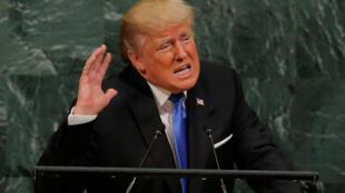 O presidente dos Estados Unidos, Donald Trump, na tribuna da Assembleia Geral da ONU, em Nova York, nesta terça-feira (19).