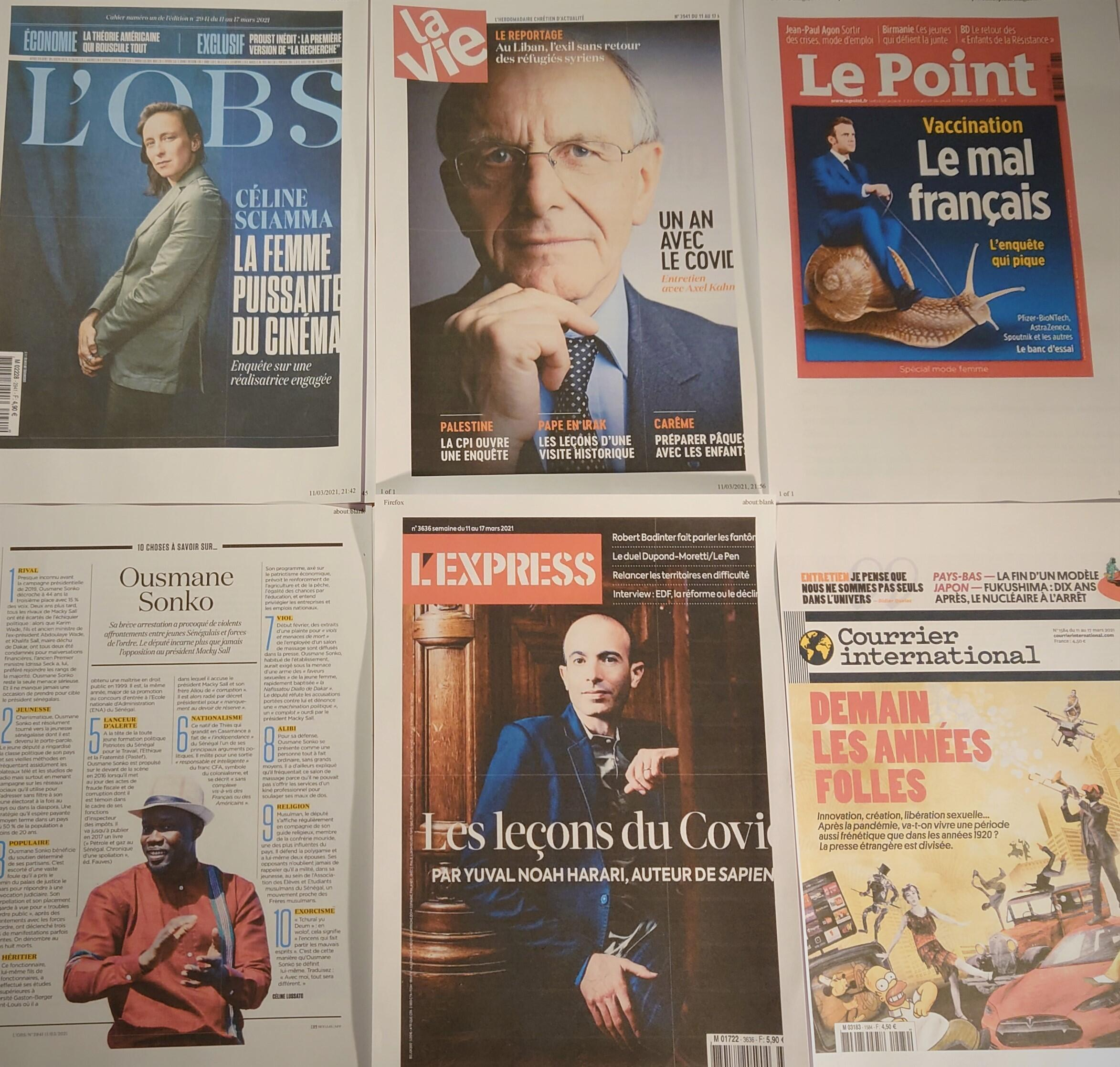 Semanários  franceses  13 03 2021
