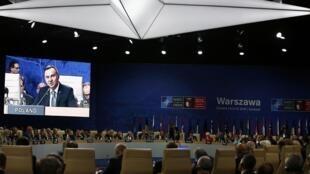 Tổng thống Ba Lan Andrzej Duda phát biểu tại cuộc họp thượng đỉnh Nato tại Vacxava ngày 08/07/2016.