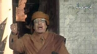 Le colonel Kadhafi lors de son intervention à la télévision nationale à Tripoli, le 22 février 2011.