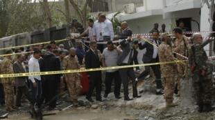 法國駐利比亞大使館遭炸彈襲擊現場