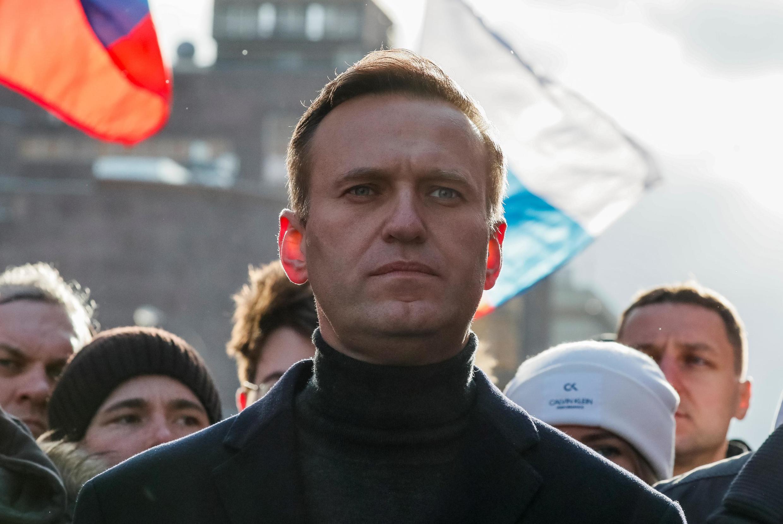 O advogado e opositor Alexei Navalny durante manifestação contra o governo russo, em Moscou, em 29 de fevereiro deste ano.