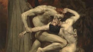 """""""Dante y Virgilio"""" (1850) óleo del artista francés William Bouguereau (1825-1905)."""