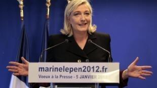 Лидер Национального фронта Марин Ле Пен выступает с новогодними поздравлениями прессе 05/01/2012