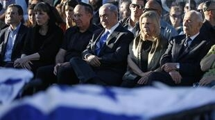 Benjamin Netanyahu, en el funeral de los tres jóvenes israelíes.