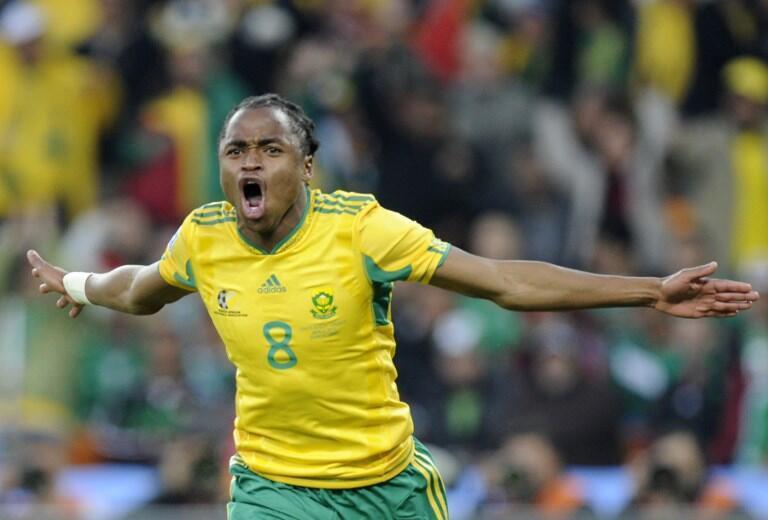 La joie de Siphiwe Tshabalala après son but face au Mexique lors du Mondial 2010 en Afrique du Sud.