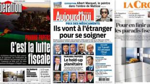 Capa dos jornais franceses Libération, Aujourd'hui en France e La Croix desta terça-feira, 05 de abril de 2016.