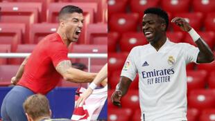 L'attaquant de l'Atlético de Madrid, Luis Suarez, et l'attaquant du Real Madrid, Vinicius Junior.