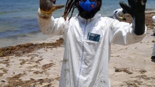 Voluntários limpam as praias no nordeste do Brasil.