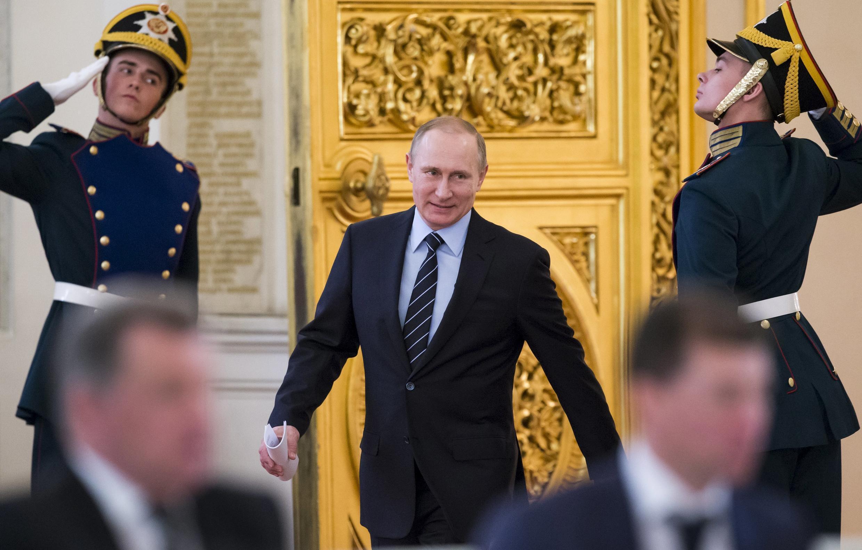 Tổng thống Nga Vladimir Putin tại điện Kremlin, Matxcơva, ngày 05/04/2016