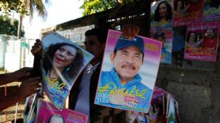 Cartazes da campanha presidencial, com fotos de Ortega e Murillo.