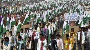 Ayer los campesinos salieron de Gwalior en el estado de Madhya Pradesh.