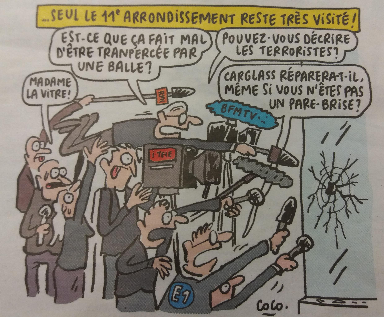 Рисунок «Шарли Эбдо» о журналистах на месте трагедии в Париже