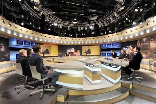 TV studio during debate on regional elections