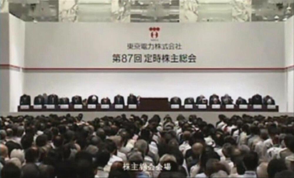Assembleia da Tepco, em Tóquio, reúne número recorde de acionistas nesta terça-feira.