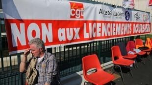 Alcatal employees protest in Orvault, near Rennes 8 October, 2013