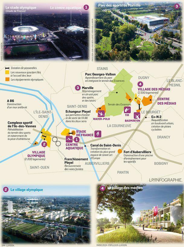 Mapa con las instalaciones pensadas para los Juegos Olímpicos París 2024 en el departamento de Seine-Saint-Denis.
