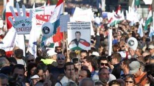 Une manifestation anti-gouvernementale à Budapest en Hongrie, le 23 octobre 2012.