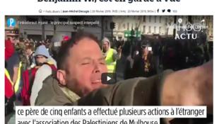 Fotomontagem de reportagem do jornal Le Parisien sobre a detenção de Benjamin W., identificado em vídeo filmado na manifestação de sábado (17) em Paris.