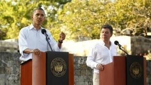 美國總統奧巴馬與哥倫比亞總統桑托斯在美洲首腦會議期間 2012年4月15日