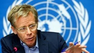 Daraktan Hukumar Lafiya ta Duniya WHO  Bruce Aylward yana magana game da yaki da cutar Ebola a Geneva