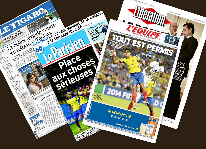 Capa dos jornais franceses Le Figaro, Le Parisien, L'Equipe e Liberation desta quinta-feira, 26 de junho de 2014.