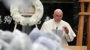 Pope Francis at ground zero in Nagasaki on 24 November, 2019.