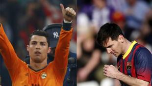 Le Portugais Cristiano Ronaldo (à gauche) et l'Argentin Lionel Messi (à droite).