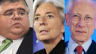 Os três candidatos à direção do FMI :  o mexicano Agustin Carstens, a francesa Christine Lagarde e o israelense Stanley Fischer.
