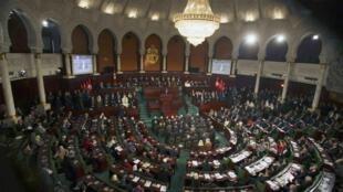 Lễ mừng Hiến pháp mới tại Quốc hội Tunisia ngày 07/02/2014.