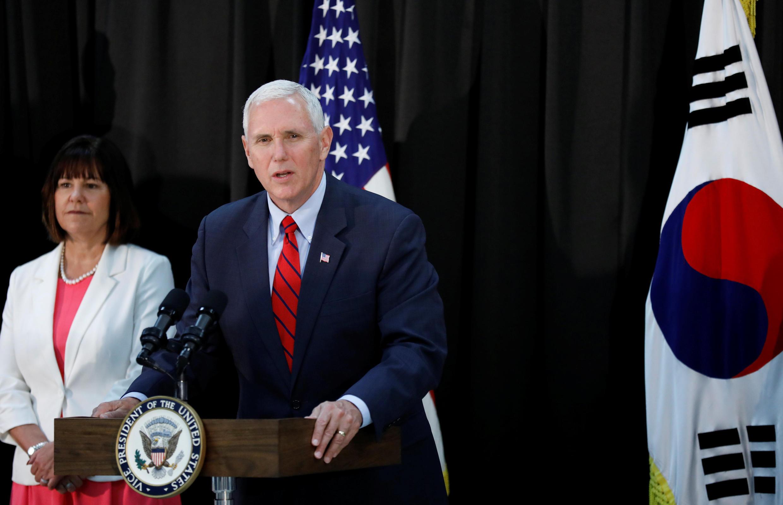 O vice-presidente dos EUA, Mike Pence, durante visita à Coreia do Sul