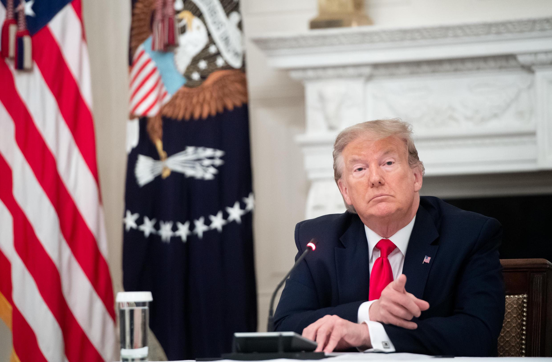 Presidente Donald Trump na Casa Branca, em Washington, a 18 de junho de 2020.