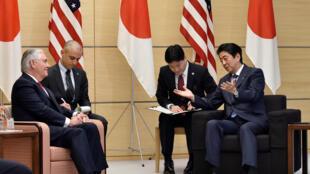 日本首相安倍晉三與美國國務卿蒂勒森會談