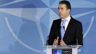 El secretario general de la OTAN Anders Fogh Rasmussen en Bruselas, este jueves 2 de febrero.